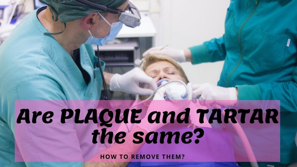 dentist. patient treating a patient with plaque and tartar problem